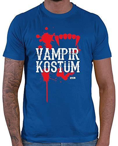 HARIZ  Herren T-Shirt Vampir Kostüm Karneval Kostüm Plus Geschenkkarte Royal Blau XXL