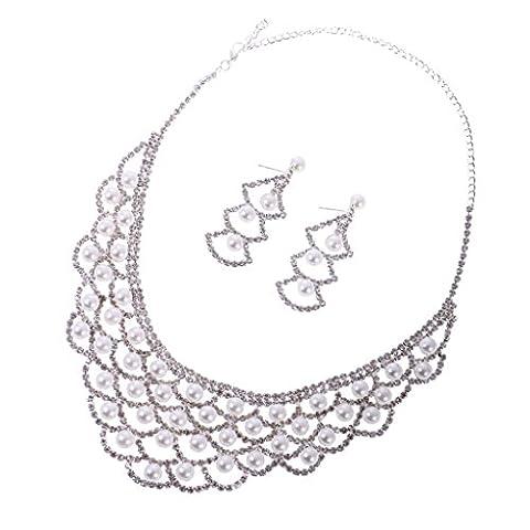 Collier et Boucles d'oreilles en Strass Parure Bijoux Mariage Mode