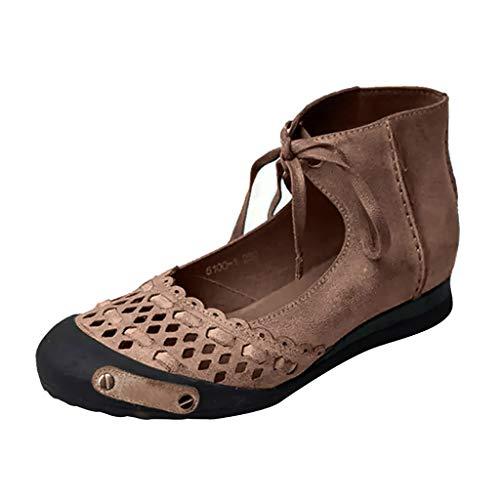 Retro Sandals für Frauen/Dorical Damen Round Toe Casual Knöchelriemen Hallow Sommer Classic Sandalen Schuhe Hausschuhe Mode Flache Schuhe Sommerschuhe Größe 35-43(Braun,43 EU)