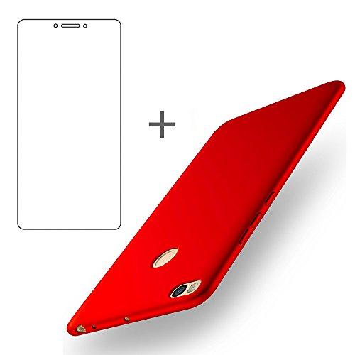 BLUGUL Funda Xiaomi Mi Max 2 + Gratuito Protector de Pantalla, Ultra Delgado, Totalmente Protector, Sensación de Seda, Dura Cover para Xiaomi Max 2 Rojo