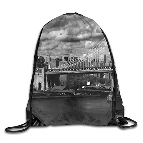 kpacks Bags Daypacks,Black and White Panorama of New York City Skyline with Focus On Manhattan Bridge Photo,5 Liter Capacity Adjustable for Sport Gym Traveling ()