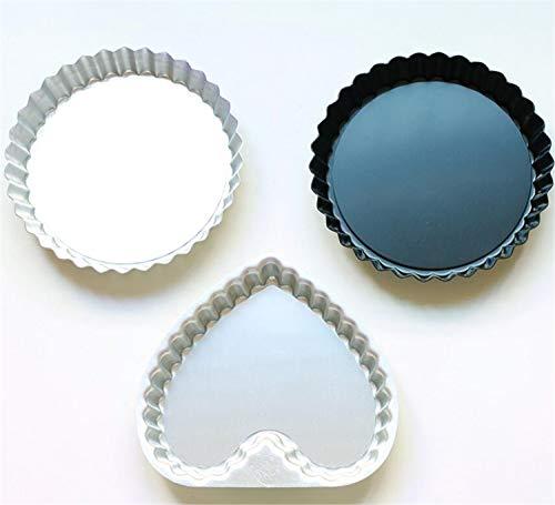 Heart-Shaped Mini Pie Pan Endurance Aluminiumlegierung Backformen Backen, geriffeltes Flan Tin, Quiche Pan, Pizza, 3pcs Tin Pan Pizza