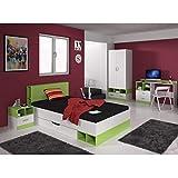 Livingruhm Kinderzimmer Jugendzimmer Set Thomas 4 teilig Weiss/grün mit Schreibtisch