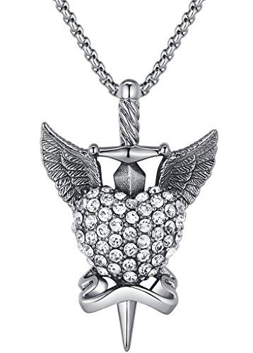 Ai Stainless Steel Jewelry - Colgante con adorno de cristal y detalle corazón hecho con acero