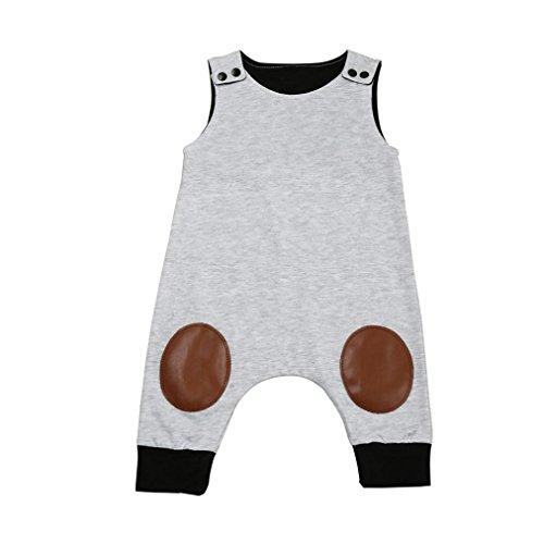 Bekleidung Longra Neugeborenes Baby Mädchen Jungen Strampler Ohne Arm Jumpsuits Overall Spielanzug Ausstattungs Sommer Baby Kleidung(0 -24 Monate) (70CM 6Monate, Gray) (Neugeborene Jungen Kleidung Elch)