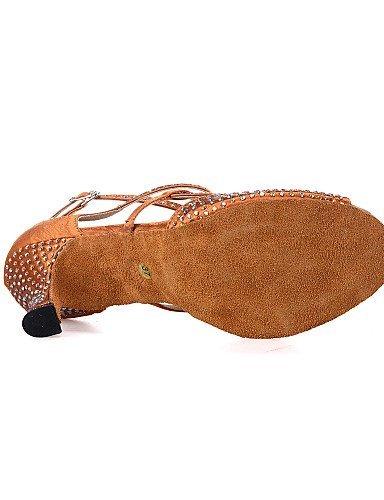 ShangYi Chaussures de danse(Noir / Marron / Gris) -Personnalisables-Talon Bobine-Satin-Ventre / Latine / Jazz / Baskets de Danse / Moderne / Grey