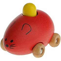 Juguete Magideal Mini Coche en Forma de Ratón Pequeño Niños Bebés Madera - Rojo