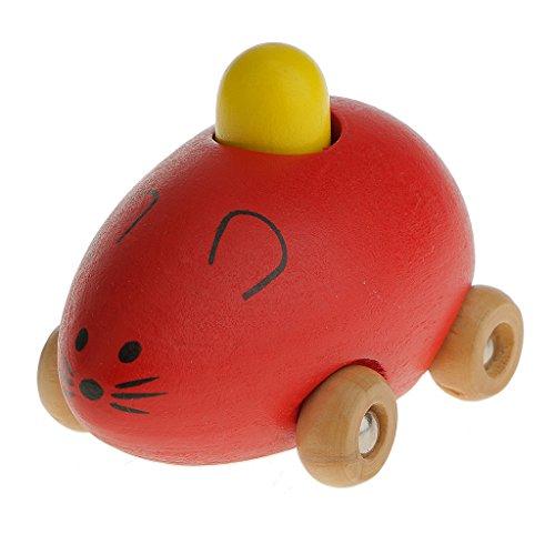 Kleine Maus Spielzeugauto Holz-Tier-Spielzeugauto Baby Kinder Mini-Modell - Rot, /