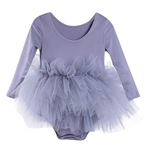 ädchen Gymnastik Tanz Tutu Tüll Ballett Training Body Dancewear Kleid (Grau, 5-6 Years-L) ()