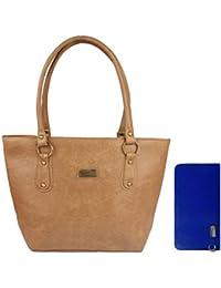 Lorna Women's Hand Bag & Clutch Combo (Brown & Blue)