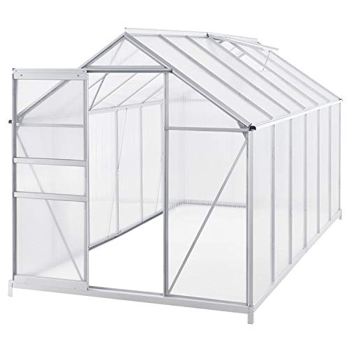 Juskys Aluminium Gewächshaus Amsterdam 7m² mit 2 Dachfenstern inklusive Fundament
