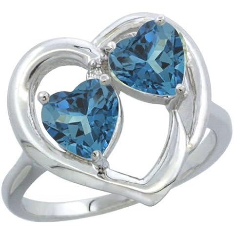 Revoni-Catenina in oro bianco 9 kt, con topazio blu Londra &-Anello con diamante, a forma di cuore, 6 mm, 2 pezzi - Topaz 10 Pezzo