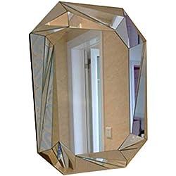 Gchom Espejo de Vanidad Decorativo para El Dormitorio, Creativo Espejo Geométrico Espejo Montado En La Pared Moderno para El Baño Tocador Espejo de Vestir (Size : 81cm)