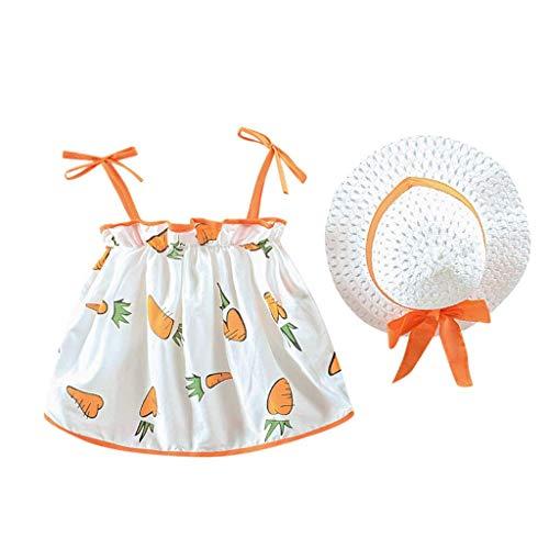 KIMODO Kleinkind Baby Mädchen Karotte gedruckt lässig Kleid Tütü Urlaub Sommer Strandkleid Prinzessin Kleidung + Strohhut Set (Ebay Womens Halloween-kostüme)