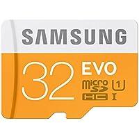 Samsung 32 GB Evo MicroSDHC UHS-I Grade 1 Class 10 Memory Card with SD Adapter (Standard Packaging) - Orange/White