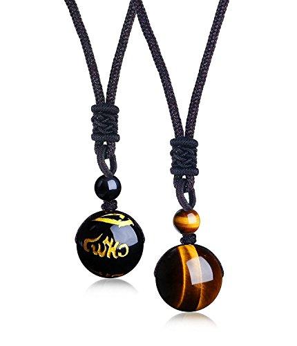 BE STEEL Schmuck 2PCS Perlen Anhänger Halskette für Herren und Damen Natürliche Tigeraugen Stein Onyx Lucky Segen Chakra Heilung Halskette - Gebetsmühle Tibetische