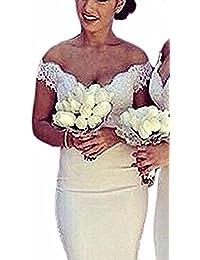 Special Bridal Meerjungfrau Abendkleid aus der Schulter Spitze lange Sexy Abendkleid Brautjungfer Kleid