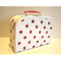 Suitcase, board, white with ladybirds, 25 cm