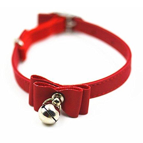 (Hmeng Hundehalsband, Hunde Katze Welpen Wasserdichte Schleife Halsband Halsbänder Einfarbig Verstellbar Leder Kragen mit Glocke Schnalle Halskette für Haustier Hunden Katzen (1.0 * 20-30CM, Rot))