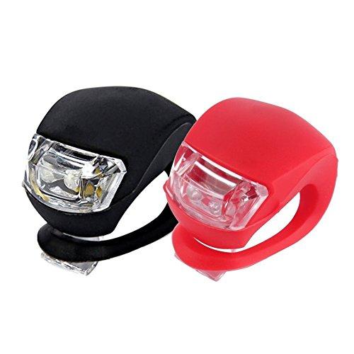 Unicoco Bicycle Light 2confezioni silicone LED bici anteriore e luce posteriore con batteria set rana impermeabile luce per biciclett