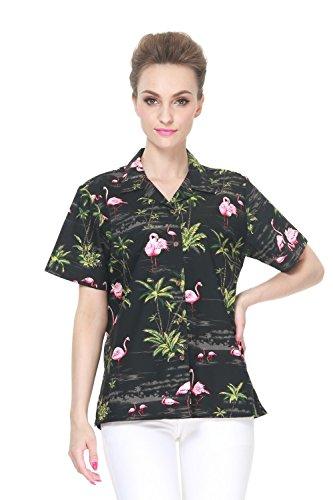 Hecho-en-Hawaii-Camisa-hawaiana-de-las-seoras-de-la-hawaiana-en-rosa-Flamenco-Palma-Negro