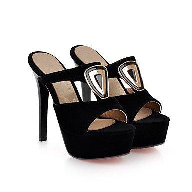 LvYuan Damen-Sandalen-Kleid Lässig Party & Festivität-Samt maßgeschneiderte Werkstoffe-Stöckelabsatz-Neuheit Club-Schuhe-Schwarz Gold Black