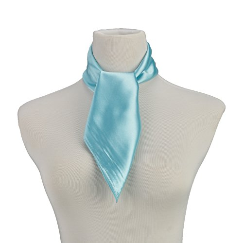 RongShi Frauen Hellblau Square Schal Polyester Sheer Farbe Schals Kopfschmuck Blau 60 X 60 CM (Sheer Square Schal)