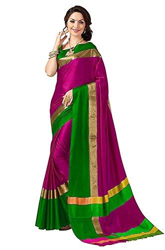PerfectBlue Women's Cotton Silk Saree With Blouse Piece (Pinkgreenvisva_Pinkgreen)
