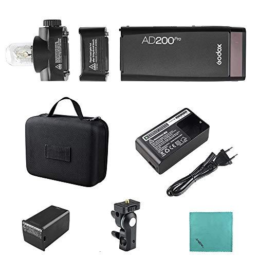 Godox AD200Pro Pocket Flash Tragbarer kabelloser TTL-Blitz mit wechselbarem Blitzkopf (Speedlite/nackte Birne) GN52 GN60 1 / 8000s HSS für Nikon Sony Fujifilm Olympus Panasonic Pro Ring-flash