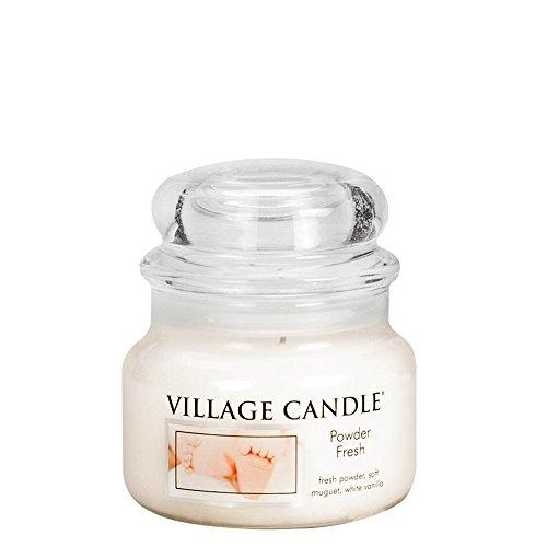 Village Candle Puderfrische Kleine Duftkerze im Glas, 312 g, weiß, 9.6 x 9.3 cm,