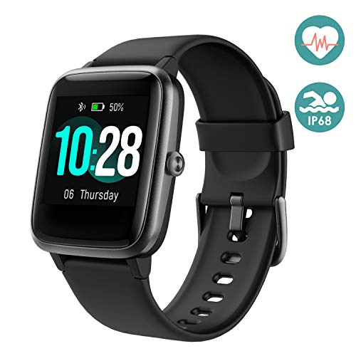 Arbily Fitness Armband Smartwatch Armbanduhr, Fitness Tracker für Damen Herren Kinder, Sportuhr mit Schrittzähler Pulsmesser Wasserdicht IP68 zum Schwimmen (Schwarz)