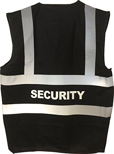 Preisvergleich Produktbild Warnweste farbig mit SECURITY in weiß bedruckt (Rücken) Signalweste Sicherheitsweste Schwarz / Black