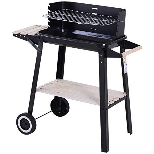 Outsunny Griglia a Carbone Barbecue BBQ Carrello Grill per Picnic con Ruote da Balcone Giardino in Ferro e Legno 87 × 45 × 83 cm Nero