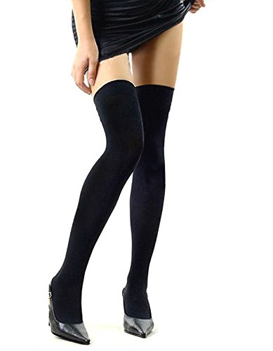 Baumwoll-Strümpfe - All4you Frauen stricken Baumwolle Stulpen Mädchen Over the Knee Socks kniehohe Strümpfe Tights(Black) (Long Baumwolle Tight)