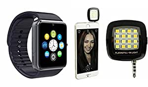 MIRZA Bluetooth GT08 Smart Wrist Watch & Mobile Flash for REDMI NOTE(Mobile Flash Light & GT08 Smart Watch Watch Phone with Camera & SIM Card Support Hot Fashion New Arrival Best Selling Premium Quality Lowest Price with Apps like Facebook,Whatsapp, Twitter, Sports, Health, Pedometer, Sedentary Remind,Compatible with Android iOS Mobile Tablet-Assorted Color)