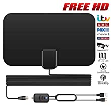 TV Aerial, Indoor TV Aerial for Digital Freeview, Over 60+Miles Long Range Access Freeview TV Aerial- Support 4K 1080P HD/VHF/UHF Freeview Channels & Local【Newest Version】
