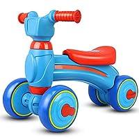 YANWE Baby Balance Sliding Walker Four-Wheeler, High-Density PE Blow Molding Body, EVA Anti-Skid Mute Wheel, 1-3 Old,Blue