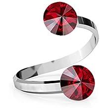 Crystals & Stones Rivoli - Anillo doble de cristal ajustable (plata de ley 925,