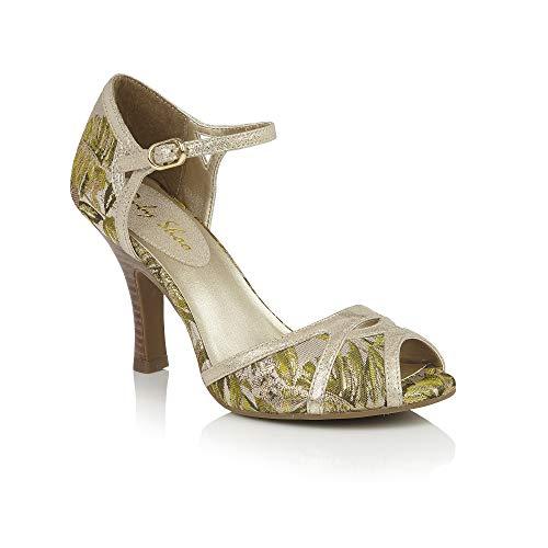 Ruby Shoo Eliza Green & Gold Floral Vintage Style Peep Toes UK 4 Hi Heel Open-toe Pump