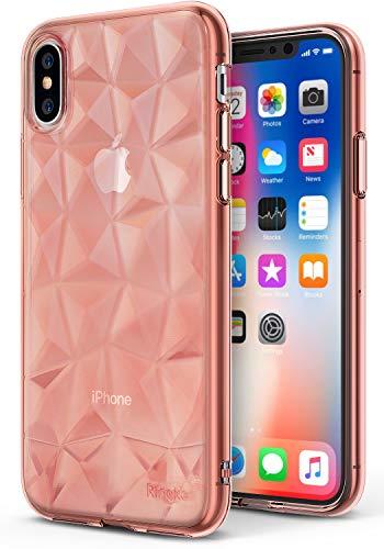 Ringke Funda Apple iPhone X [Air Prism] TPU con Diseño 3D Texturizado de Genial Elegante con Patrón de Diamante Flexible como Una Joya para Apple iPhone X - Rosa Rose Gold Crystal