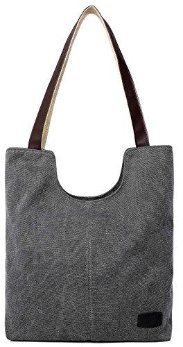 Damen Umhängetasche Handtasche aus Canvas Leinwand Grau Gray
