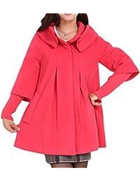 Yasong Women's Girl's Loose Fit Faux Wool Coat Trench Jacket Peacoat Cape Coat Cloak Outerwear