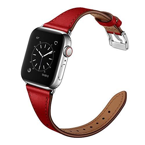 Arktis Lederarmband für Frauen kompatibel mit Apple Watch (Series 1, Series 2, Series 3 mit 38 mm (Series 4, Series 5 mit 40 mm) dünnes Ersatzband [echtes Leder] mit Edelstahlschließe - Rot -