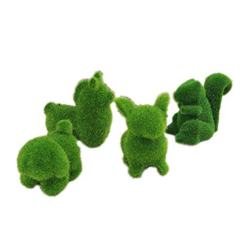 37yimu 4pcs césped artificial césped Animal figuras en miniatura Adorno de jardín...