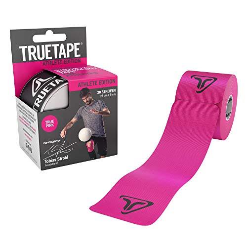 TRUETAPE - vorgeschnittenes Kinesiologie Tape, 20 Streifen pro Rolle, innovatives Synthetikmaterial, inkl. +40 Anleitungen, Pink