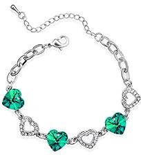 Idea Regalo - Lusso verde smeraldo cuori argento strass di cristallo donne braccialetto BB208