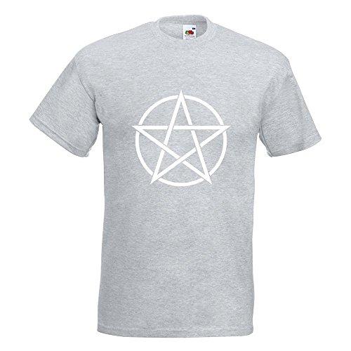 KIWISTAR - Pentagramm T-Shirt in 15 verschiedenen Farben - Herren Funshirt bedruckt Design Sprüche Spruch Motive Oberteil Baumwolle Print Größe S M L XL XXL Graumeliert