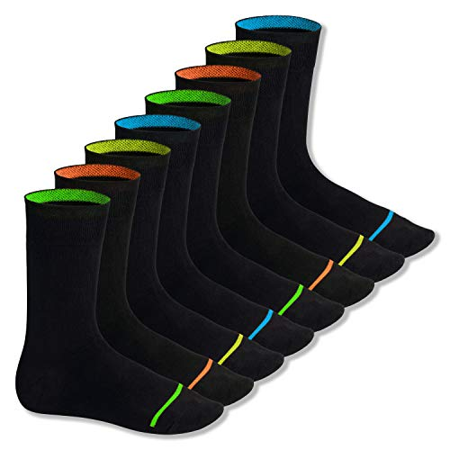 Footstar Herren & Damen Baumwollsocken (8 Paar), Schwarze Socken im Neon Look - Neon Glow 43-46