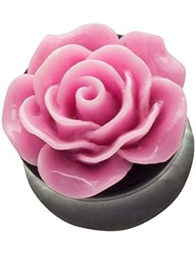 3D Plug Flesh Tunnel Plugs Piercing Ohr Ear Plugs Rose Colors Blume Rosa PL8