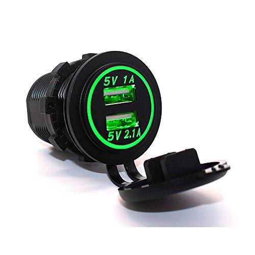 Preisvergleich Produktbild RAXFLY DIY Wasserdicht Einbau Auto Motorrad Dual USB Anschlüsse Ladegerät Adapter mit LED Anzeige für 12V / 24V KFZ PKW Motorrad Grün